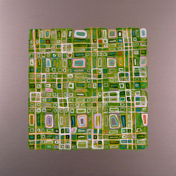 Ling-Wen Tsai, <i>little squares - 2</i>, 2009, acrylic on aluminum, 12� x 12�