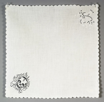 <b>Allison Cooke Brown</b>, <i>Untitled</i>, embroidery on napkin