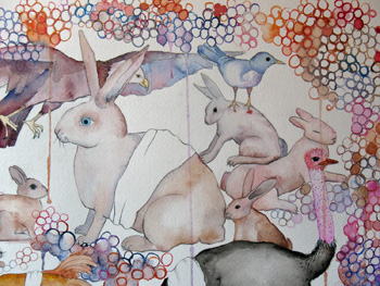 <b>Lucinda Bliss</b>, <i>Bandaged I</i>, watercolor, gouache, and graphite on paper