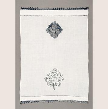 Allison Cooke Brown, <i>Both Sides #3</i>, vintage hand towel, thread