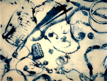 The Contents of Corrina's Handbag, xerox lithograph on paper on canvas, 2004