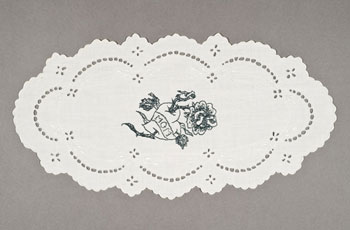 Allison Cooke Brown, <i>Doily Mom</i>, embroidery on vintage doily