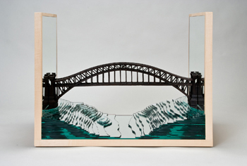 Diana Cherbuliez, <i>Hell Gate</i>,  burned apple wood, mirror,  birch plywood, 15