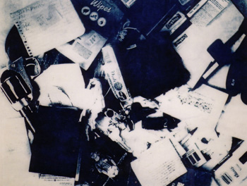 The Contents of Jean's Handbag, xerox lithograph on paper on canvas, 2004
