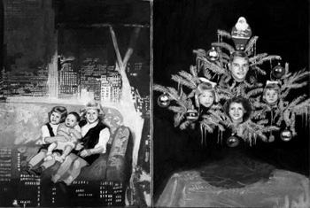 <b>Judith Allen</b>,<i>Rooms of Our Lives, the Christmas Episode: Flying Couch Over Manhattan and Heads in the Tree </i>, Oil on two panels