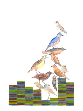 Lucinda Bliss, <i>Bird Stack</i>, 2010, graphite pencil, watercolor and gouache on paper