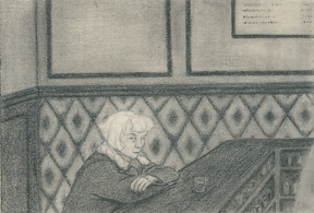 <b>Melinda Barnes</b>, <i>Woman In Bar</i>,  2009, graphite on paper