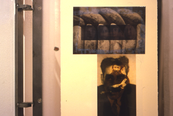 two-sided photo transfer on rice paper, montage, plexiglass and steel hinged frame, 2005