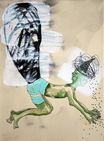 <b>Deborah Randall</b>, <i>If You Had a Tail</i>, ink and casein on paper