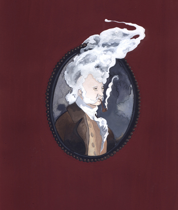<b>Justin Richel</b>, <i>Much Smoke Little Fire</i>, gouache on paper