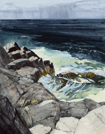 Michael Torlen, <i>3.	Rain Away, Monhegan (from Songs for My Father)</i>, watercolor and gouache