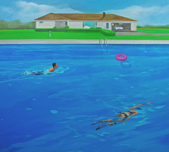 Richard Hutchins, <i>Swimmers</i>, oil on canvas