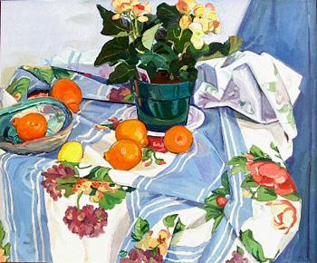 Debra Yoo, Tangelos, oil on canvas