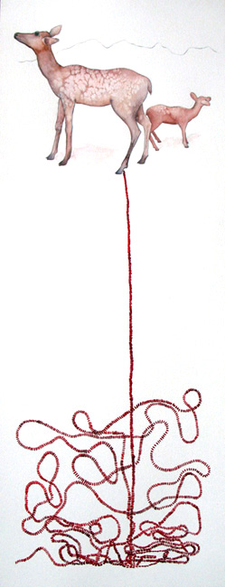 Lucinda Bliss, <i>Untitled (Deer and Beads) I</i>, 2009, graphite pencil, watercolor, and gouache on paper