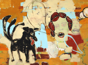 <b>Deborah Randall</b>, <i>Bad Dog</i>, oil enamel on panel