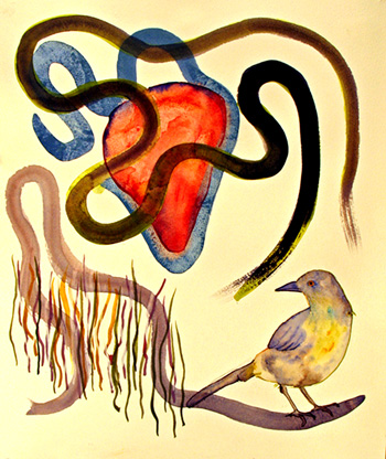 Lucinda Bliss, <i>Scarlet Letter: Love,</i> Graphite pencil, ink, watercolor, and gouache, 2008