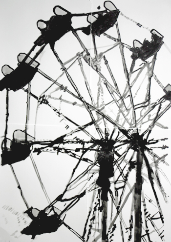 <b>Peter Precourt</b>, <i>Ferris Wheel</i>, sumi-e ink on paper, 44 x 60 in., 2008