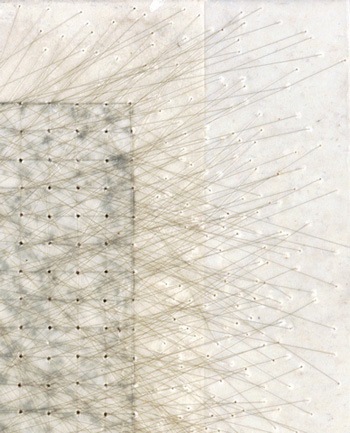 <i>Untitled</i> (detail), 2006, encaustic wax, toner, and nylon thread on paper 6 x 8 in