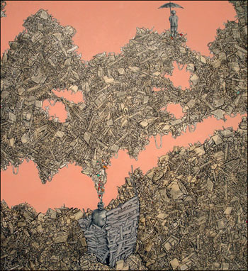 Yeshe Parks, <i>Outpost</i>, Collage on canvas