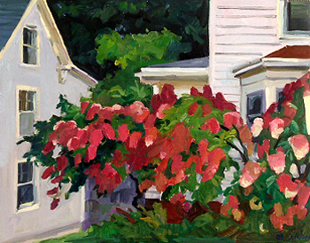 Debra Yoo, <i>Houses and hydrangea, Portland</i>, 2009, 14